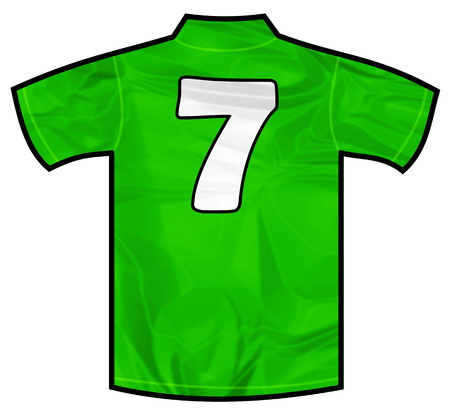 severn: Number severn 7 green sport shirt as a soccer,hockey,basket,rugby, baseball, volley or football team t-shirt. Like Ireland or Mexico national team