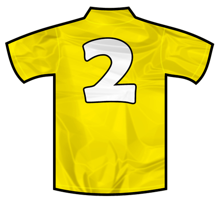 Number 2 two yellow sport shirt as a soccer,hockey,basket,rugby, baseball, volley or football team t-shirt. Like brazil national team