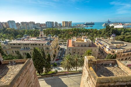 Panoramic view at Alcazaba in Malaga, Andalusia, Spain. The Alcazaba is Malagas most important landmark, and overlooks the city from a hilltop inland. Stock Photo