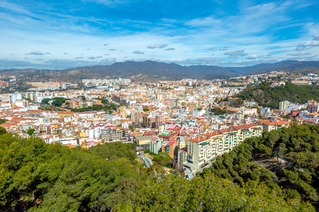 Panoramic view of Malaga city from the Gibralfaro Castle. Andalusia, Spain.