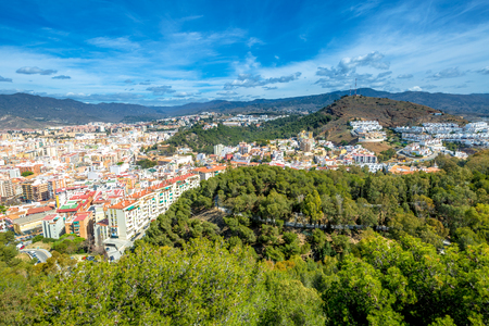 Panoramic view of Malaga city from El castillo de Gibralfaro or Alcazar, a Spanish fortress in Andalusia. Imagens
