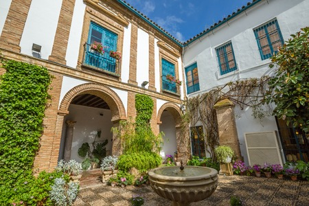 palacio: Cordoba, Andalusia, Spain - April 20, 2016: El Patio of popular Palacio de Viana in Cordoba in Andalusia of Spain.