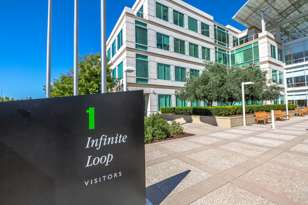 consumer electronics: Cupertino, CA, USA - August 15, 2016: the Apple world headquarters at One Infinite Loop in California. Apple is a multinational that produces consumer electronics, personal computers and software.