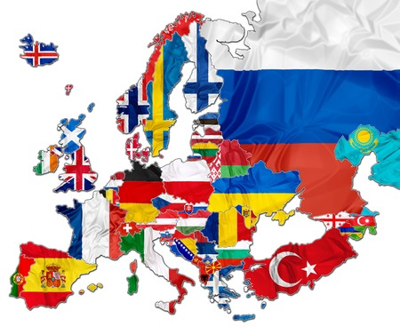 The european national flags in the map of Europe isolated on white background.