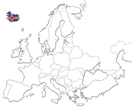 iceland flag: The national Iceland flag in the map of Europe isolated on white background.