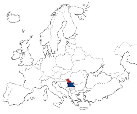serb: The national Serbia flag in the map of Europe isolated on white background. Stock Photo