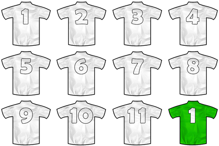 12 twelve white sport shirts as a soccer,hockey,basket,rugby, baseball, volley or football team t-shirt. Like German or England or USA national team
