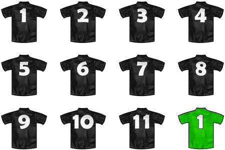 new zeland: 12 twelve Black sport shirts as a soccer,hockey,basket,rugby, baseball, volley or football team t-shirt. For the goalkeeper or the referee or New Zeland team