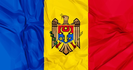 moldovan: The national Moldova waving flag in 3d background.