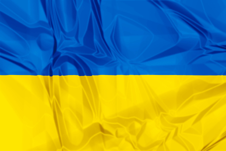 The national Ukraine waving flag in 3d background.