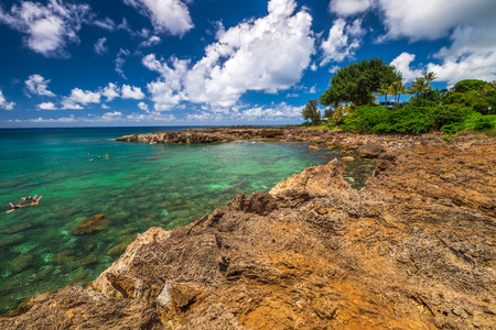 Scenic landscape of Sharks Cove, Hawaii, a small rocky bay side of Pupukea Beach Park. Sharks Cove is the second best snorkeling site on Oahu, North Shore, and boasts an impressive amount of sea life.