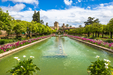 The popular gardens of Alcazar de los Reyes Cristianos in Cordoba, Andalusia, Spain. Editorial