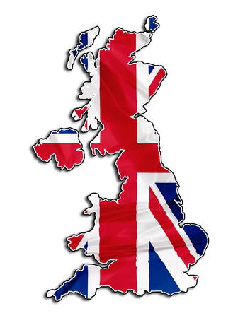 The national UK flag in map of United Kingdom isolated on white background. Stock Photo