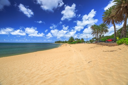 banzai pipeline: The scenic landscape of Sunset Beach, North Shore in Hawaii in summer Stock Photo