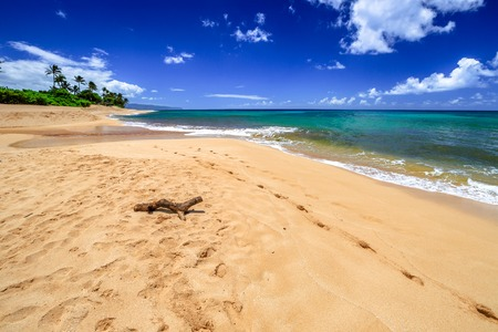 banzai pipeline: The famous Sunset Beach, North Shore in Oahu, Hawaii, in the summer when the sea is calm and flat.