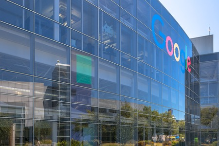 Mountain View, California, USA - August 15, 2016: close up of Google sign on one of the Google buildings. Exterior view of a Google headquarters building in Silicon Valley.
