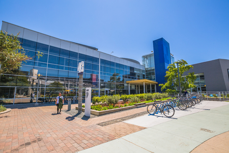 google chrome: Mountain View, CA, United States - August 15, 2016: bikes used by Google employees to move around the Googleplex. Google is a multinational corporation specializing in Internet services and products.
