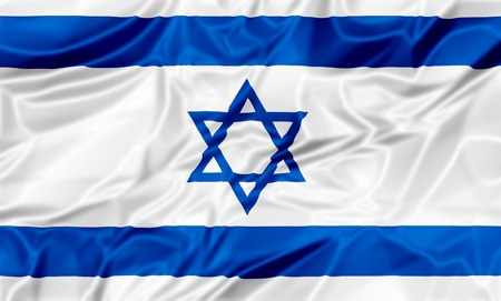 The national Israel waving flag in 3d illustration background. Stock Photo