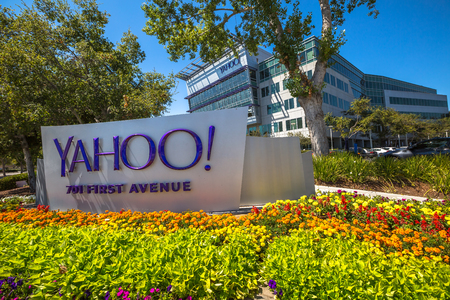 yahoo: Sunnyvale, CA, United States - August 15, 2016: Yahoo icon outside Yahoo Headquarters.Yahoo Inc. is a multinational technology company that is known for its web portal and search engine Yahoo Search. Editorial