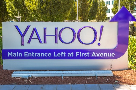 yahoo: Sunnyvale, California, United States - August 15, 2016: close up of Yahoo Main Entrace Left and First Avenue at Yahoo Headquarters located in Sunnyvale. Yahoo is a multinational technology company.