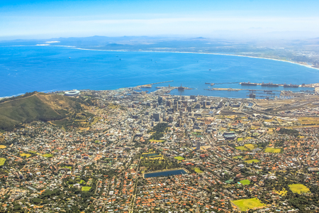 table mountain national park: Cape Town City Bowl as seen from Table Mountain National Park in South Africa, Western Cape. Aerial view of Port of Cape Town, of Waterfront and Signal Hill. Stock Photo