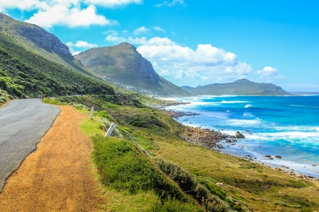 scenic drive: Cape Peninsula scenic drive, South Africa. Misty Cliffs a little village between Kommetjie and Scarborough, near Cape Town. Misty Cliffs is famous for the fog in a stormy and windy days.