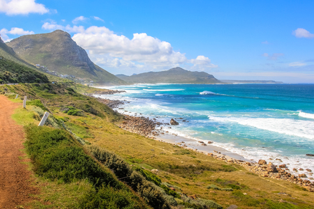 scenic drive: Cape Peninsula scenic drive, South Africa. Misty Cliffs a little village between Kommetjie and Scarborough, famous for the fog in a stormy and windy days. Stock Photo