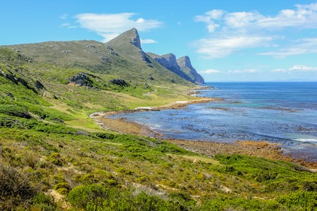 table mountain national park: Beautiful beach on the east coast in Cape of Good Hope Nature Reserve, False Bay, Cape Peninsula, the section of the Table Mountain National Park. Western Cape, South Africa.