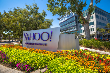 yahoo: Sunnyvale, CA, United States - August 15, 2016: Yahoo logo outside Yahoo Headquarters. Yahoo is a multinational technology company that is known for its web portal and search engine Yahoo Search.