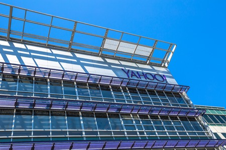yahoo: Sunnyvale, California, United States - August 15, 2016: Yahoo Headquarters facade building. Yahoo is a multinational technology company that is known for its web portal. Editorial