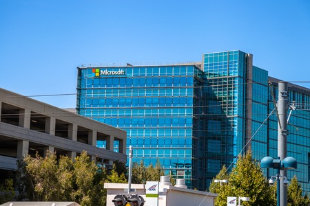 Mountain View, California, United States - August 15, 2016: Microsoft sign adorns the facade of a Microsoft Headquarters building, hardware division, in Santa Clara in Silicon Valley.