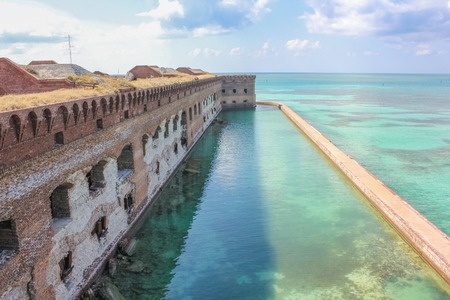 Aerial view of Fort Jefferson on the Caribbean sea of the Gulf of Mexico. Dry Tortugas National Park is 70 miles from Key West in Florida and can be reached by ferry or seaplane.