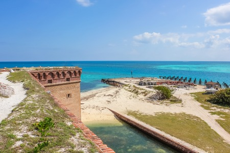 Aerial view of the North Coaling Dock Ruins of Fort Jefferson in Dry Tortugas National Park, on the Caribbean sea of the Gulf of Mexico.
