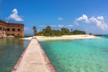 dry tortugas: The tropical waters of the Gulf of Mexico surround Historic Fort Jefferson in the Dry Tortugas National Park known for its famous bird, marine life and great place for swimming and snorkeling. Editorial