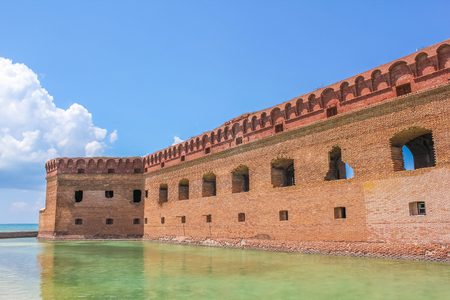 dry tortugas: The walls of Historic Fort Jefferson in the Dry Tortugas National Park, Florida, United States. Dry Tortugas is one of the United States most remote national parks. Editorial