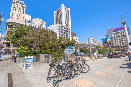 rentals: San Francisco, California, United States - August 17, 2016: bike rentals in Union Square, popular landmark of San Francisco in Market Street, known as the place shopping and luxury hotels. Editorial
