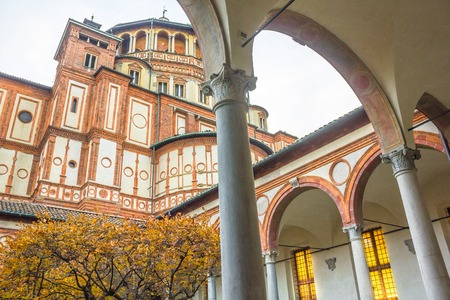 Milan, Italy - November 15, 2016: church Santa Maria Delle Grazie , from courtyard view. Hosting in its refectory, The Last Supper mural painting by Leonardo da Vinci. side view