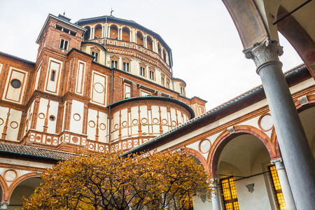 leonardo da vinci: Milan, Italy - November 15, 2016: church Santa Maria Delle Grazie in Milan, from courtyard in autumn.