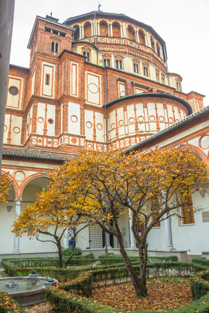 museum visit: Milan, Italy - November 15, 2016: church Santa Maria Delle Grazie in Milan, from courtyard vertical view. Editorial