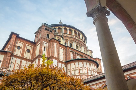 leonardo da vinci: Milan, Italy - November 15, 2016: Italian church Santa Maria Delle Grazie in Milan, from courtyard in autumn.