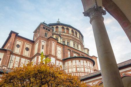 Milan, Italy - November 15, 2016: Italian church Santa Maria Delle Grazie in Milan, from courtyard in autumn.