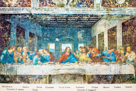 Milan, Italy - November 15, 2016: postcard of The Last Supper mural painting, Cenacolo Vinciano, the Milans famous masterpiece of Leonardo da Vinci from Renaissance before restoration. Editorial