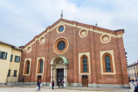 leonardo da vinci: Milan, Italy - November 15, 2016: oudoor of Santa Maria Delle Grazie, church in Milan hosting The Last Supper painting, by Leonardo da Vinci in its refectory.