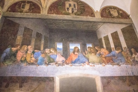 martyrdom: Milan, Italy - November 15, 2016: The mural painting, Last Supper, famous masterpiece of Leonardo da Vinci from Renaissance after restoration.