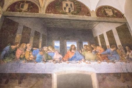 Milan, Italy - November 15, 2016: The mural painting, Last Supper, famous masterpiece of Leonardo da Vinci from Renaissance after restoration.