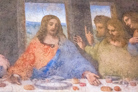 Milan, Italy - November 15, 2016: detail of the Last Supper masterpiece painting by Leonardo da Vinci. close up of Jesus., Thomas, James and Philip.