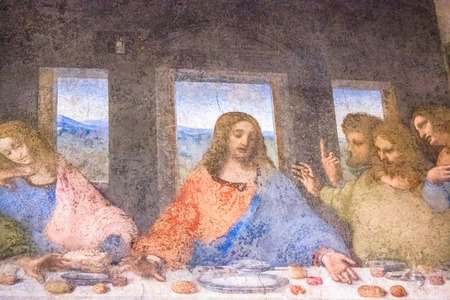 vinci: Milan, Italy - November 15, 2016: detail of the Last Supper masterpiece painting by Leonardo da Vinci. close up of John with Jesus., Thomas, James and Philip.