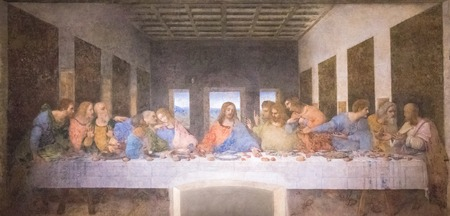 Milan, Italy - November 15, 2016: The Last Supper mural painting by Leonardo da Vinci from Renaissance, late 1490s after restoration. shows Jesus and his twelve apostles on the eve of his crucifixion.