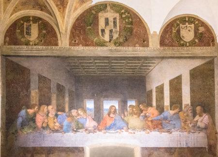 밀라노, 이탈리아 -2006 년 11 월 15 일 : 최후의 만찬 그림. 예수님과 12 명의 사도. 바돌로매, 젊은 야고보, 안드레,가 Jud 유다, 베드로, 요한, 토마스, 야고