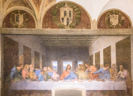 Milan, Italy - November 15, 2016: Last Supper painting. Jesus and 12 apostles. Bartholomew, young James, Andrew, Judas Iscariot, Peter, John, Thomas, James, Philip, Matthew, Thaddaeus, Simon.